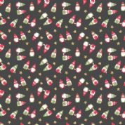Lewis & Irene - Hygge Christmas - 5985 - Scattered Elves on Black - C29.3 - Cotton Fabric